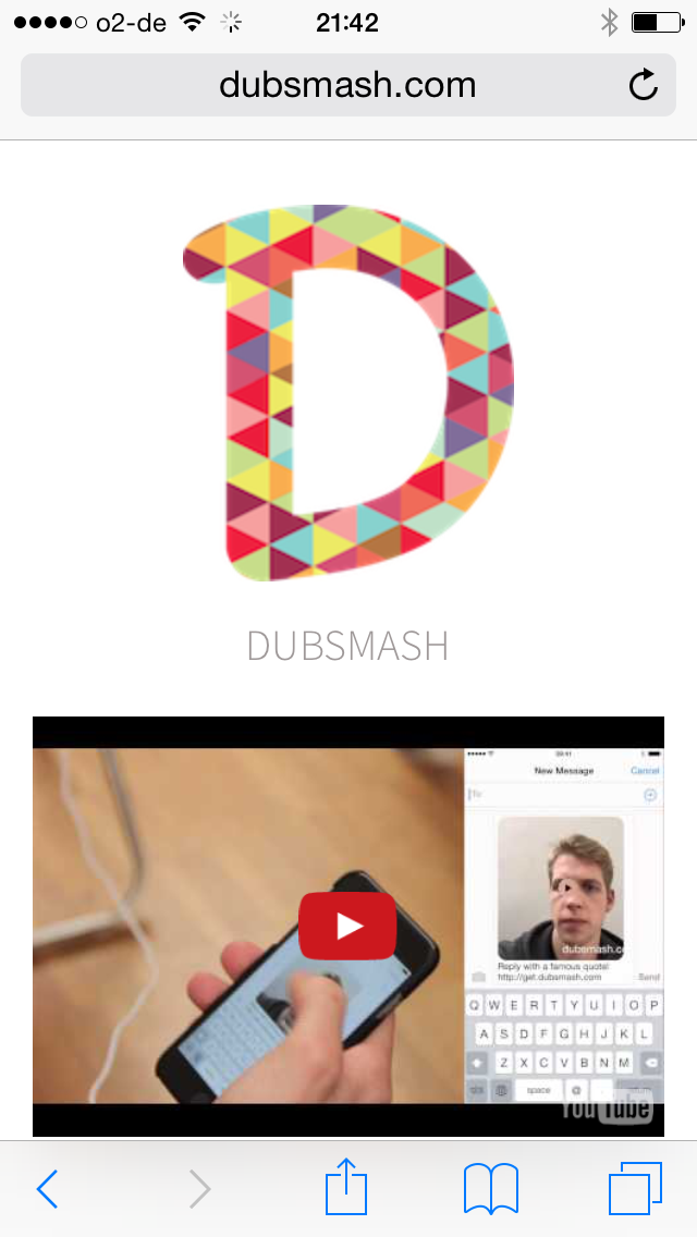Dubsmash Website oben