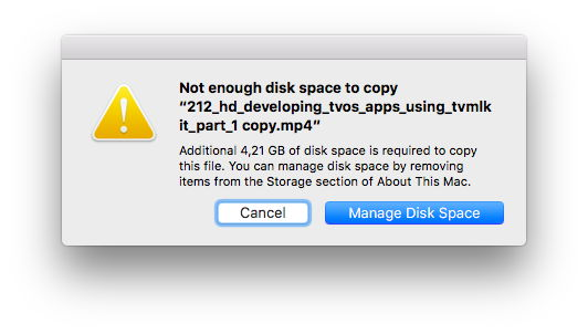 Disk Space Warning